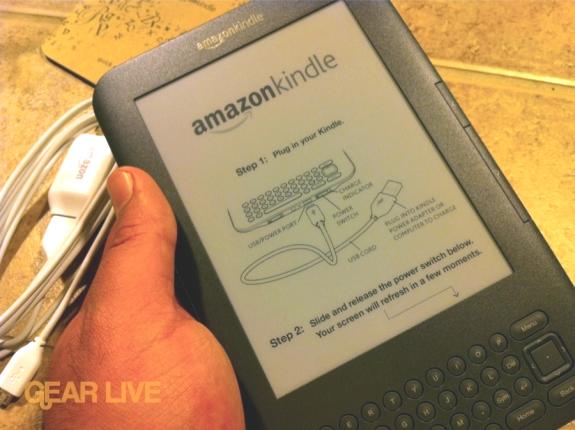 Pantalla del Kindle 3 de fábrica