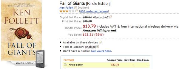 """""""La Caída de los Gigantes"""" de Ken Follet en Amazon"""